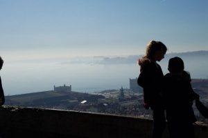 Lisbon with kids on a hill